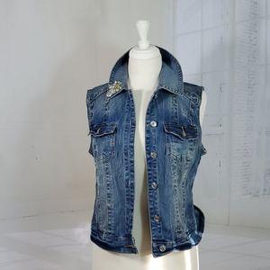 INC denim vest embellished, distressed